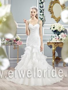 S1207 New arrival beautiful beading straps ruffle organza bridal wedding dress #Beauty_By, #Wedding_Dresses