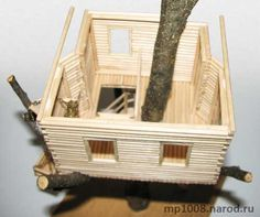 How to make tree house Many childhood home built in the trees. I will try to create your own tree house. Popsicle Stick Crafts House, Craft Stick Crafts, Popsicle Sticks, Easy Crafts, Craft Ideas, Fairy Tree Houses, Fairy Garden Houses, How To Make Trees, Mini Mundo