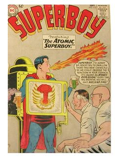 Superboy with #atomic explosion in stomach