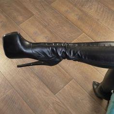 Knee High Heels, Black High Heels, High Heel Boots, Knee Boots, Heeled Boots, Sexy Boots, Sexy Heels, Unique Shoes, Black Leather Boots