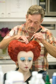 "Helena Bonham Carter In Hair and Makeup for ""Alice in Wonderland"""