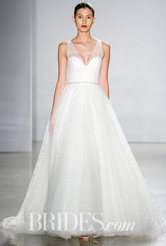 """Brides.com: . """"Candace"""" textured tulle floral ballgown with hand-beaded crystal belt, Christos"""