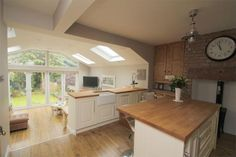 38 Stunning Conservatory Kitchen - Home Design Open Plan Kitchen Dining Living, Open Plan Kitchen Diner, Small Space Kitchen, Small Spaces, Narrow Kitchen, Kitchen Wood, Kitchen Sinks, Open Plan Living, Kitchen Cupboards