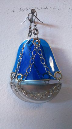 Blue and silver earrings Made from plastic bottle, soda can and stainless steel chain