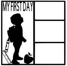 My First Day Scrapbook Overlay Paper Bag Scrapbook, Scrapbook Frames, Scrapbook Titles, Scrapbook Templates, Scrapbook Sketches, Baby Scrapbook, Scrapbook Supplies, Scrapbooking Layouts, Senior Scrapbook Ideas
