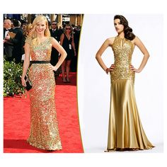 Trending Sparkly Gold Dresses Like AJ Michalka, Heather Morris, And... ❤ liked on Polyvore
