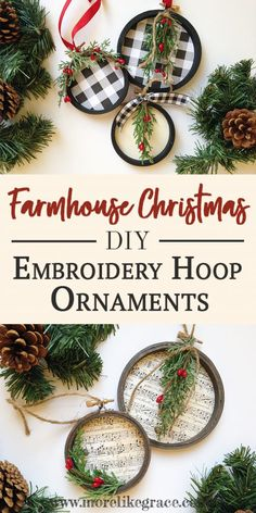 DIY Embroidery Hoop Christmas Ornaments A tutorial for making embroidery hoop Christmas ornaments. Add some farmhouse-style to your tree this year! The post DIY Embroidery Hoop Christmas Ornaments appeared first on Holiday ideas. Christmas Ornament Crafts, Holiday Crafts, Christmas Holidays, Christmas Ideas, Christmas Music, Farmhouse Christmas Ornaments Diy, Natural Christmas Ornaments, Easy Crafts For Christmas, Diy Homemade Christmas Gifts