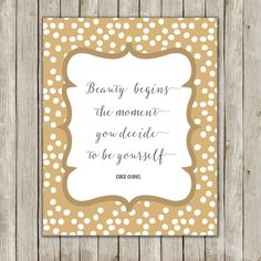 8x10 Beauty Begins Quote Art Coco Chanel Quote by twomoonsandafry