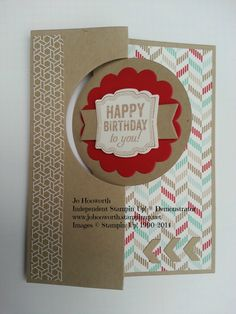 www.johooworth.stampinup.net  Stampin' Up! Masculine Flip card Crumb Cake, Real Red, Whisper White, Fresh Prints Designer Series Paper Stack, Label Love, Artisan Label punch, Circle Thinlits dies.