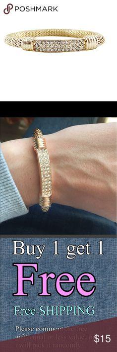 Rhinestones elastic chain bracelet Buy one get one FREE (equal or less value) Jewelry Bracelets
