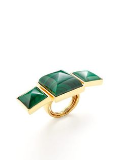 Triple malachite ring by Kara Ross