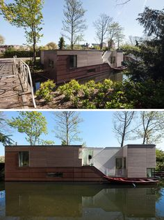 11 Awesome Examples Of Modern House Boats // This multi-level houseboat floats on a canal in The Netherlands and has both privacy and beautiful views of the canal.