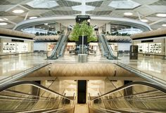 The new terminal at Azerbaijan's Heydar Aliyev International Airport will soon open in the country's capital of Baku. The landmark terminal features interior architecture and experiential design by the globally acclaimed, Istanbul-based Autoban st Oslo Airport, Airport Lounge, Turkish Architecture, Interior Architecture, Interior Design, Interior Ideas, Airport Design, Mall Design, Mall
