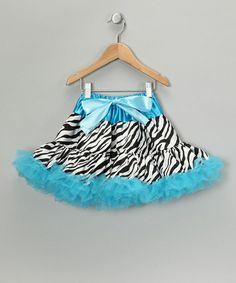 Take a look at this Blue Zebra Bow Pettiskirt - Infant, Toddler & Girls by Just For Girls on #zulily today!