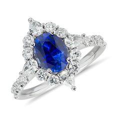 Sapphire and Diamond Halo Star Ring 18k White Gold (1.54 ct. tw.), Women's, White Gold Diamond Sapphire