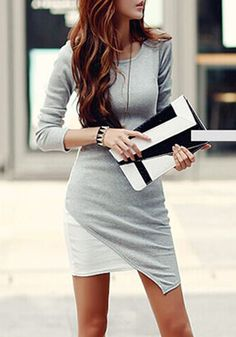 Grey-White Patchwork Irregular Hem Long Sleeve Bodycon Elegant Chiffon Mini Dress
