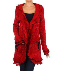 Look at this #zulilyfind! Red & Black Ruffle Cardigan by Karen T. Design #zulilyfinds