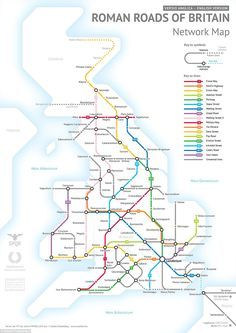 Roman Roads As A Subway Map.Britain S Network Of Lost Roman Roads Reinvented In A Subway Map