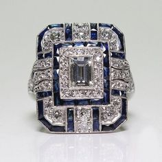 Buy Antique Art Deco 925 Sterling Silver Blue Sapphire & Diamond Ring at Wish - Shopping Made Fun Art Deco Schmuck, Bijoux Art Deco, Art Deco Jewelry, Jewelry Gifts, Jewelry Shop, Diy Jewelry, Jewelry Accessories, Engagement Ring Sizes, Engagement Jewelry