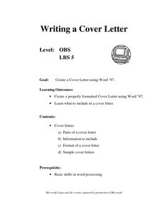 Cover Letter Sample Summer Jobcover Letter Samples For Jobs