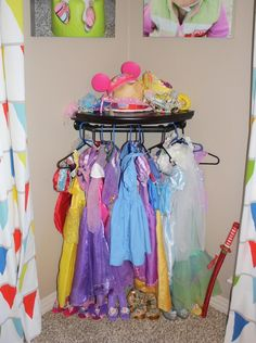 dress-up DIY do-it-yourself storage play room clothes little girl disney princess costume outfit home project