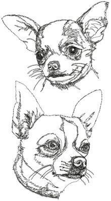 Chihuahua (Smooth Coated) Dog Head Black and White Sketch Set Advanced Embroidery Designs Chihuahua Drawing, Chihuahua Tattoo, Chihuahua Art, Animal Sketches, Art Drawings Sketches, Animal Drawings, Easy Drawings, Owl Embroidery, Machine Embroidery