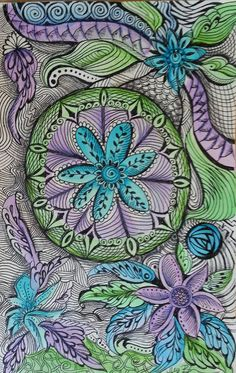Zentangle Inspired Radial Blues watercolor pen & by Megadesignz, $34.00
