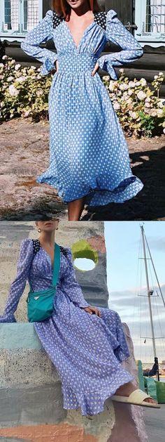 White Floral Blue Burst Summer Long Maxi Dress S//M
