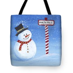 "North Pole Tote Bag by Darice Machel McGuire (18"" x 18"").  The tote bag is machine washable, available in three different sizes, and includes a black strap for easy carrying on your shoulder.  All totes are available for worldwide shipping and include a money-back guarantee."