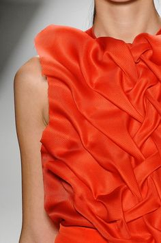 A gorgeous detail shot of sculpted orange on the Prabal Gurung catwalk.