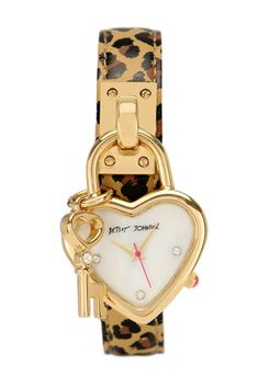 Betsey Johnson Leopard Leather-Strap Watch With Heart Charm, $115, available at Betsey Johnson.