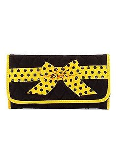 Quilted Ribbon Bow Accent Tri Fold TriFold Checkbook Wallet Black Gold