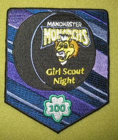 Girl Scouts Green and White Mountains 100th Anniversary patch. Manchester Monarchs Girl Scout Night. Thank you, Sarah. What a lovely name you have.