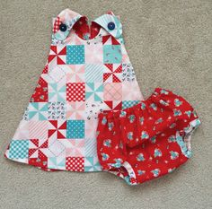 Red Checkered Dress , Reversible Baby Dress , Pinafore Dress , Baby/Toddler Pinafore Dress