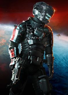 Isaac Clarke from Dead Space wearing Mass Effect Themed N7 Armor