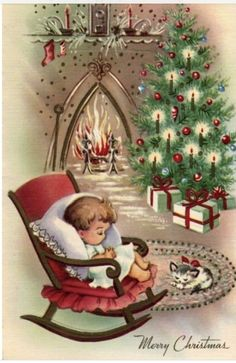 Vintage Christmas Images, Old Fashioned Christmas, Christmas Scenes, Christmas Past, Retro Christmas, Vintage Holiday, Christmas Pictures, Christmas Crafts, Homemade Christmas