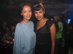 Imany et Sonia Roland lors de la Fashion Week homme à Paris - gala organisé par l'AMFAR - juin 2011