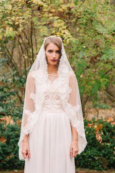 French Alencon lace trim dotted veil-- JOY