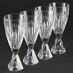 4 Vintage Sektgläser Bleikristall Kristall Glas Gläser Facettenschliff U2O
