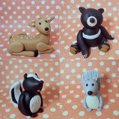 Woodland Animals Set of 5 Cake Toppers. $20.00, via Etsy.  These toppers are sooooooooo cute!