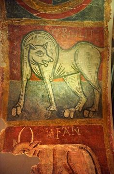 Mythical medieval animal. A 12th Century Romanesque fresco from the Church of Saint Joan Boi, al de Boi, Spain. National Art Museum of Catal...