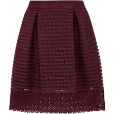 Ted Baker Lace and Mesh Panelled Skirt, Oxblood (2.585.960 IDR) ❤ liked on Polyvore featuring skirts, bottoms, flare skirt, ted baker skirt, mesh panel skirt, stripe skirts and striped flare skirt