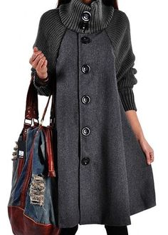 Button Closure Grey Long Sleeve Swing Coat | lulugal.com - USD $38.33