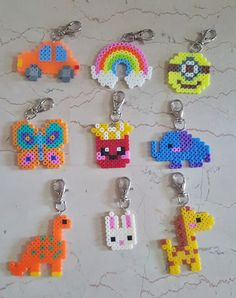 beaded keychains Lovely Perler Beads Keychain by TuesEvening on Etsy Hama Beads Minecraft, Diy Perler Beads, Perler Bead Art, Pearler Beads, Fuse Beads, Minecraft Crafts, Easy Perler Bead Patterns, Melty Bead Patterns, Perler Bead Templates