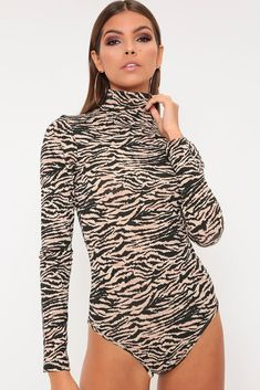 9879efea63a9 Orange tiger print roll neck long sleeve bodysuit