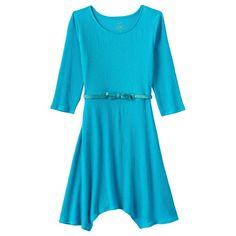 Girls 7-16 & Plus Size SO® Solid Textured Handkerchief Dress, Girl's, Size: 14 1/2, Turquoise/Blue (Turq/Aqua)