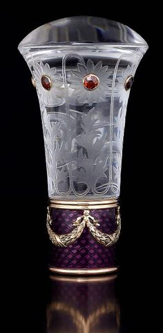 Russian antique FABERGE gem-set rock crystal and royal purple guilloche enamel parasol handle, workmaster Albert Holmstrom, made in St. Petersburg between 1908 and 1917...(NOT 19C BUT TOO BEAUTIFUL NOT TO INCLUDE IN WITH PARASOLS)