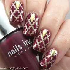 Burgundy & gold nails, quatrefoil / moroccan style nail art, stud accents
