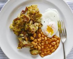 Ham & potato hash with baked beans & healthy 'fried' eggs
