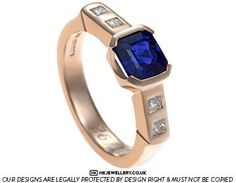 Holly's rose gold sapphire and diamond art deco bespoke engagement ring
